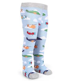 Mustang Footed Stocking Tights Airplane Design - Sky Blue & Grey