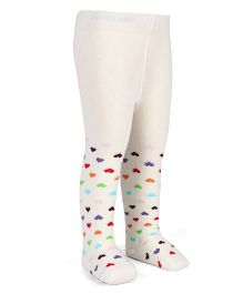 Mustang Footed Stocking Tights Heart Design - Off White
