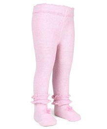 Mustang Footed Stocking Tights Ruffle Design And Floral Applique - Light Pink