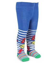 Mustang Footed Stocking Tights Stripes And Safety First Design - Royal Blue