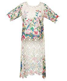 Mignon Crochet Long Top For Moms - Multicolor