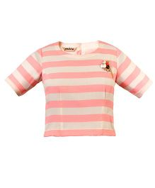 Mignon Stripe Top With Brooch For Moms - Pink & White