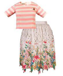 Mignon Stripe Top & Crochet Skirt For Moms - Multicolor