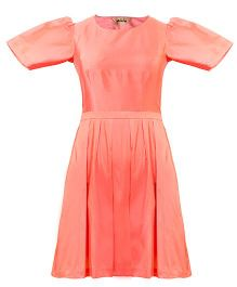 Mignon Heart Cut Out Dress For Moms - Coral Pink