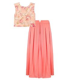 Mignon Sequince Crop Top & Georgette Pleated Long Skirt For Moms - Peach & Coral Pink