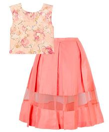 Mignon Sequince Crop Top With Panel Skirt For Moms - Peach & Coral Pink
