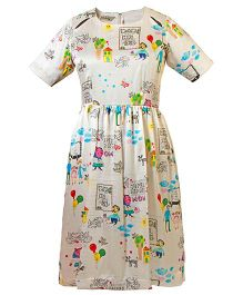 Mignon Printed Dress With Slits - Multicolor