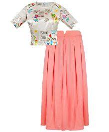 Mignon Printed Top & Georgette Skirt Set For Moms - Multicolor