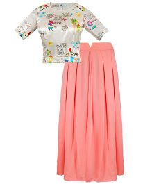 Mignon Printed Top & Georgette Skirt Set For Moms - Multicolor