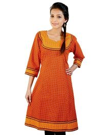 Little India Three Fourth Sleeves Exclusive Designer Printed Maternity Kurti - Orange