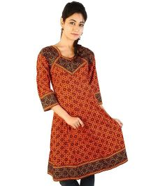 Little India Three Fourth Jaipuri Designer Printed Maternity Kurti - Red Black