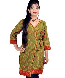 Little India Three Fourth Sleeves Designer Bootie Print Maternity Kurti -  Green