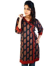 Little India Three Fourth Sleeves Designer Maternity Kurti - Red Black