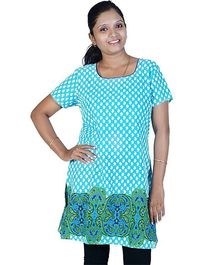 Little India Half Sleeves Abstract Design Maternity Kurti - Turquoise