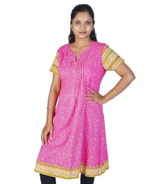 Little India Half Sleeves Bandhej Design Ethnic Kurti - Pink