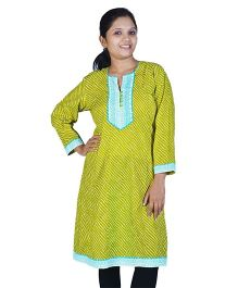 Little India Three Fourth Sleeves Exclusive Designer Lehriya Ethnic Maternity Kurti  - Green