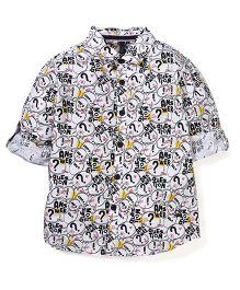 UCB Full Sleeves Printed Shirt - Off White