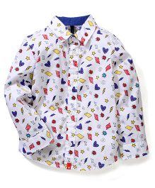 UCB Full Sleeves Printed Shirt - White