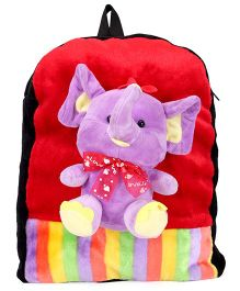 Tickles Plush Bag Ladybug Applique Red Purple - Height 13 Inches