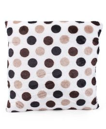 Tickles Dots Print Cushion - White Beige Brown Black