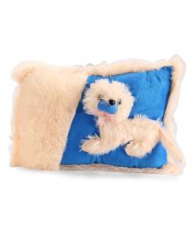 Tickles Doggy Soft Toy Cushion - Cream And Blue