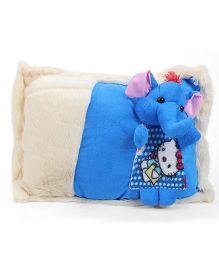 Tickles Cute Elephant Design Cushion - Cream And Blue