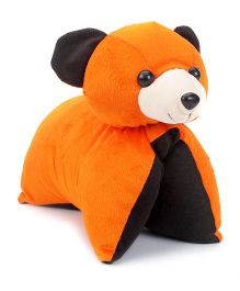 Convertible Cute Teddy Cushion - Orange And Black