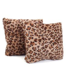 Tickles Leopard Print Cushion Beige - Set Of 2