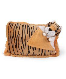 Tickles Tiger Design Plush Cushion - Yellow Black White
