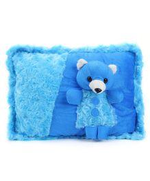Tickles Beautiful Dressed Teddy Bear Design Cushion - Blue