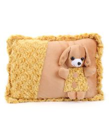 Tickles Cuddly Doggy Design Cushion - Yellow And Brown