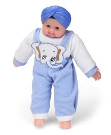 Tickles SardarJi Laughing Baba Doll Elephant Design Blue And White - 16 Inches