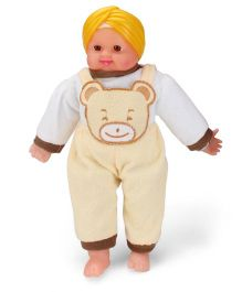 Tickles SardarJi Laughing Cute Baba Doll Teddy Design Yellow And White - 16 Inches