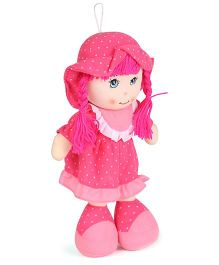 Tickles Cute Smiling Candy Doll Dotted Print Pink - 13 Inches