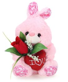 Tickles Rabbit Soft Toy With Rose Pink - Height 7 Inches