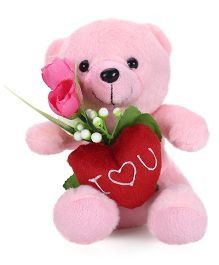 Tickles Cute Teddy With Rose - 15 cm