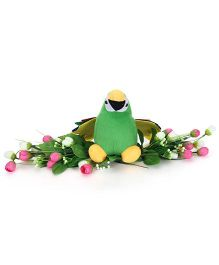 Tickles Parrot Soft Toy Sitting On Flowers Green - 7 Inches