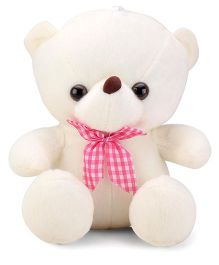 Tickles Sitting Teddy With Lovely Bow Soft Toy Off White - 8 Inches