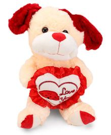 Tickles I Love Heart Standing Dog Soft Toy Peach - 13 Inches
