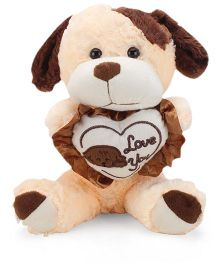 Tickles I Love Heart Standing Dog Soft Toy Peach And Brown - 13 Inches