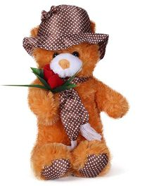 Tickles Teddy Soft Toy With Rose Brown - 17 Inches