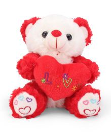 Tickles Cute Teddy With Heart Red And White - 7 Inches