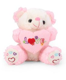 Tickles Cute Teddy With Heart Soft Toy Pink - 7 Inches