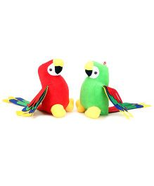 Tickles Cute Macaw Parrot Soft Toys Green And Red - 7 Inches