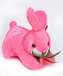Tickles Cute Rabbit Soft Toy With Leaves Pink - 10 Inches