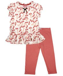 CrayonFlakes Dragonfly Print Top & Leggings Set - Peach