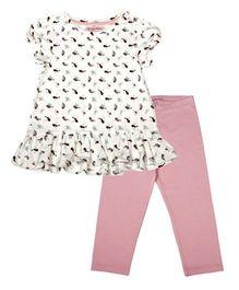 CrayonFlakes Chirpy Bird Print Top & Pink Leggings Set - White & Pink