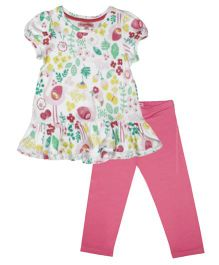 CrayonFlakes Swan Top & Leggings Set - White & Pink