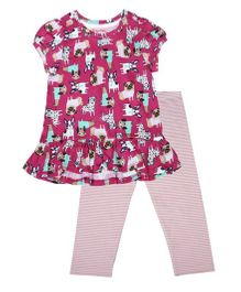 CrayonFlakes Puppy Top & Stripes Leggings Set - Magenta & Pink