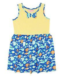 CrayonFlakes Swan Print Dress - Yellow & Blue
